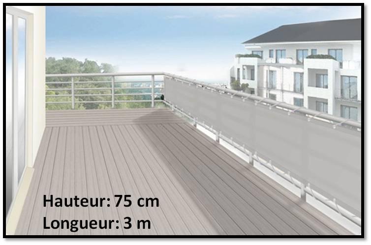Brise vue en toile pour balcons couleur gris clair 75x300 ilya2too - Toile pour balcon ...