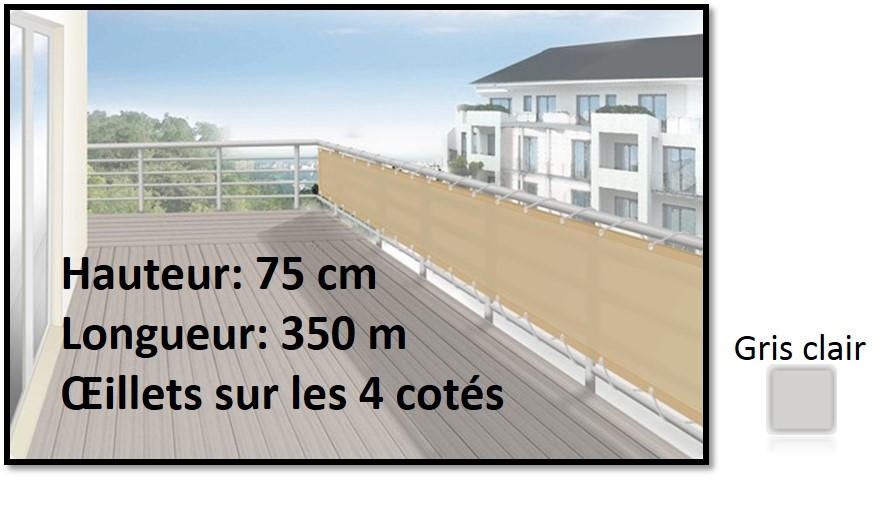 brise vue en toile pour balcons couleur gris clair 75x350 ilya2too. Black Bedroom Furniture Sets. Home Design Ideas