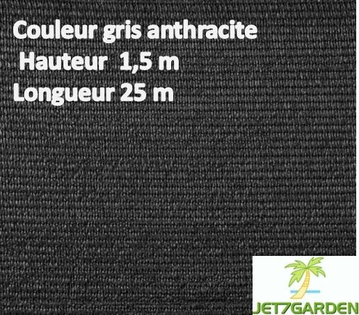 Brise vue en toile pour balcons couleur gris anthracite mx 25m ilya2too for Cloture de jardin en toile