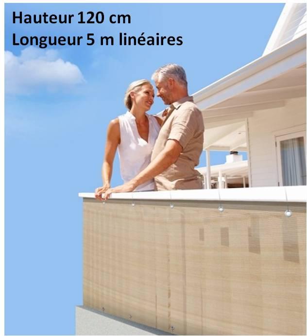 Brise vue en toile pour balcons couleur sable 120x500 - Brise vue balcon en toile ...